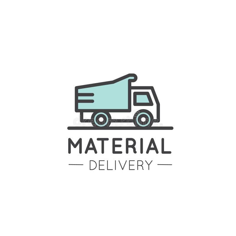 Logo Badge de la entrega y de la distribución de los materiales de construcción de la construcción de viviendas de Real Estate stock de ilustración