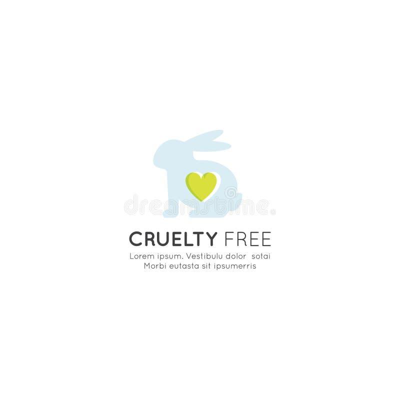 Logo Badge med kanin och hjärta som inte fritt testas på djur, för labbprodukt för grymhet etikett vektor illustrationer