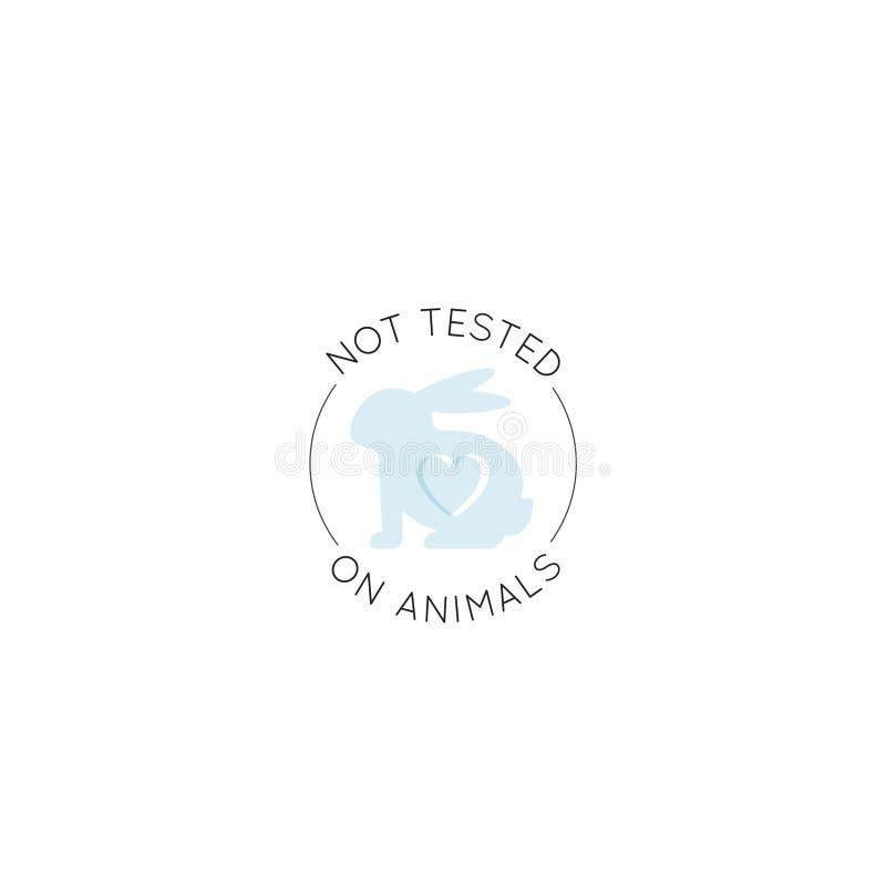 Logo Badge med kanin och hjärta som inte fritt testas på djur, för labbprodukt för grymhet etikett royaltyfri illustrationer