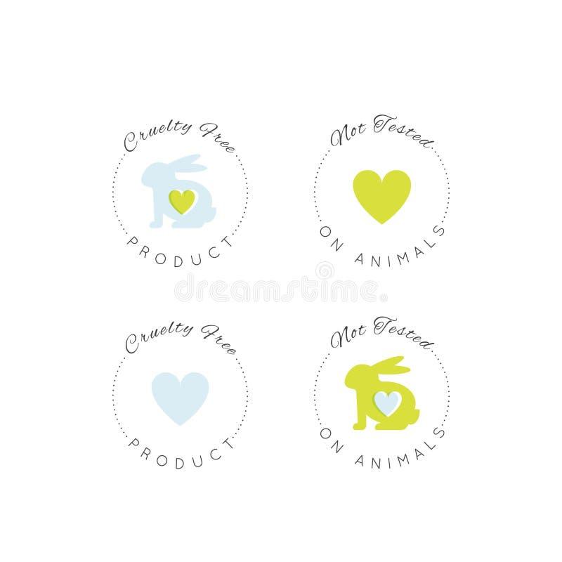 Logo Badge med kanin och hjärta som inte fritt testas på djur, för labbprodukt för grymhet etikett stock illustrationer