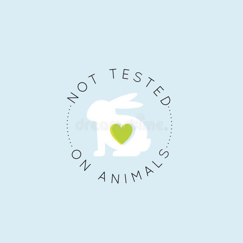 Logo Badge med kanin och hjärta som inte fritt testas på djur, för labbprodukt för grymhet uppsättning för etikett stock illustrationer