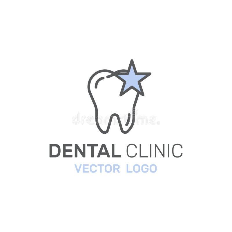 Logo Badge ou cuidados dentários e doença, conceito do tratamento, ortodontia da cura do dente, Stomatology e Med Clinic ilustração stock