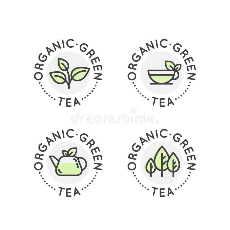 Logo Badge Set för organisk produktion för grönt te eller shoppar för sund livsstil vektor illustrationer