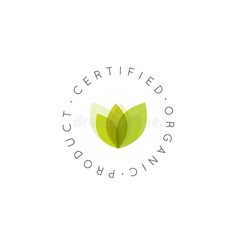 Logo Badge Vegan Friendly organisk ny auktoriserad revisor, Eco produkt, Bio ingrediensetikettemblem med bladet stock illustrationer