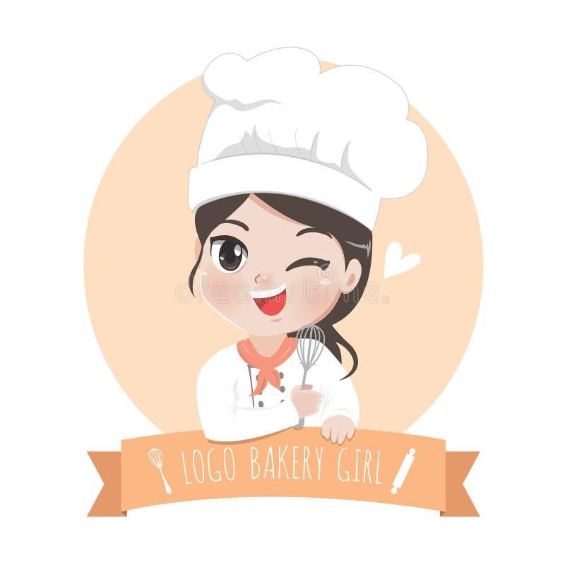 Logo bakery girl sweet smile dessert. The little bakery girl chef`s logo is happy,tasty and sweet smile stock illustration