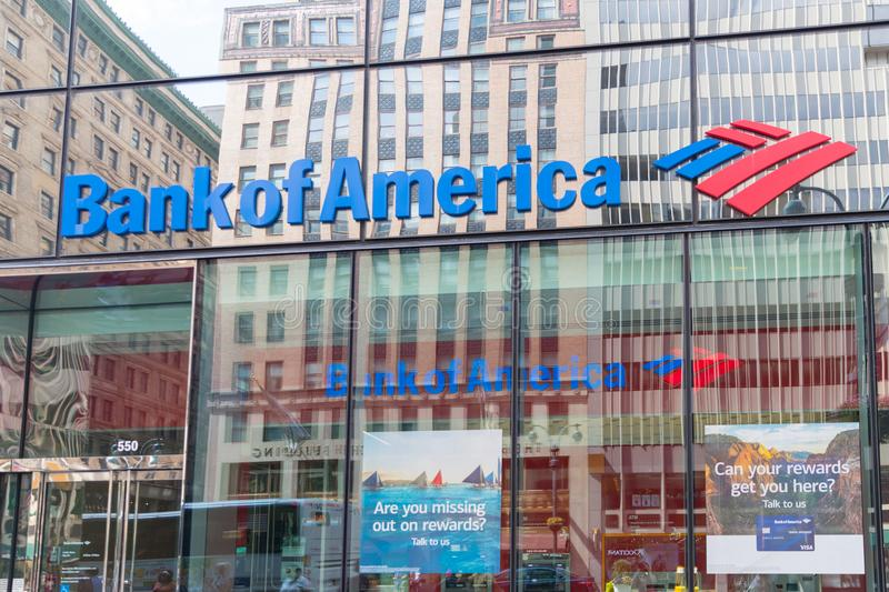 Logo of Bank of America in modern office building in New York. stock photo