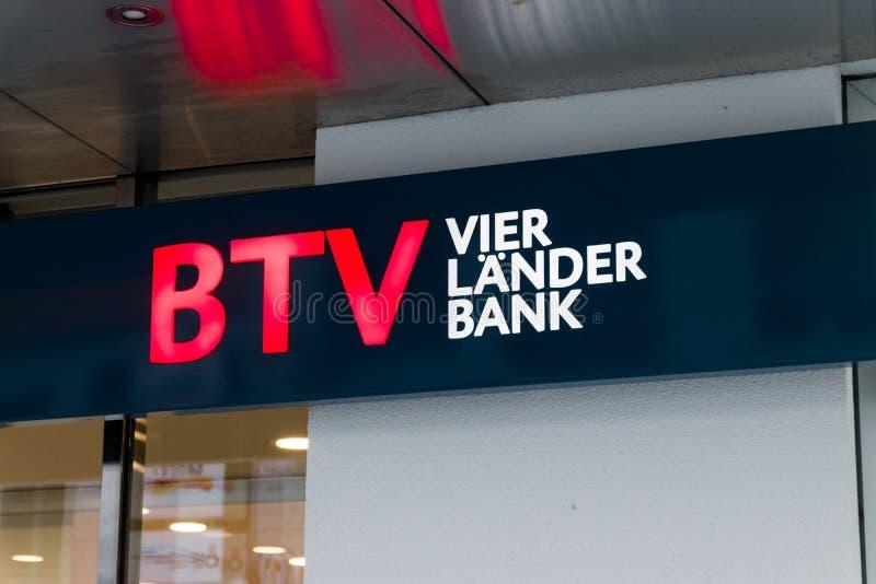 Logo banka Tirol futerkowy und Vorarlberg z znaka BTV Lander vier bankiem zdjęcia royalty free