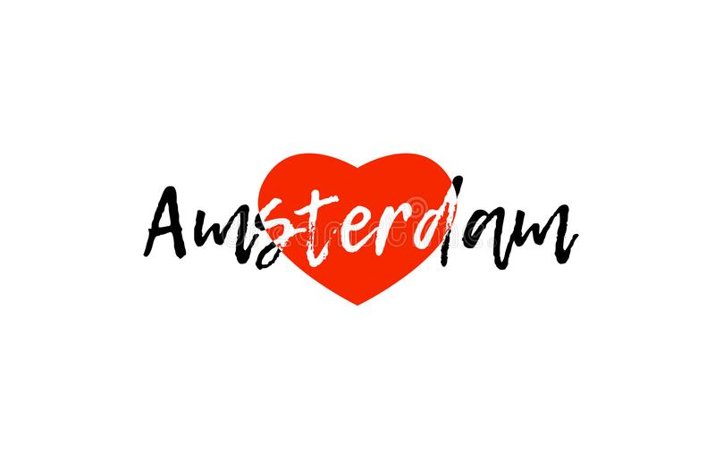 European capital city amsterdam love heart text logo design. Logo or banner for european capital amsterdam of netherlands with a red love heart suitable for vector illustration