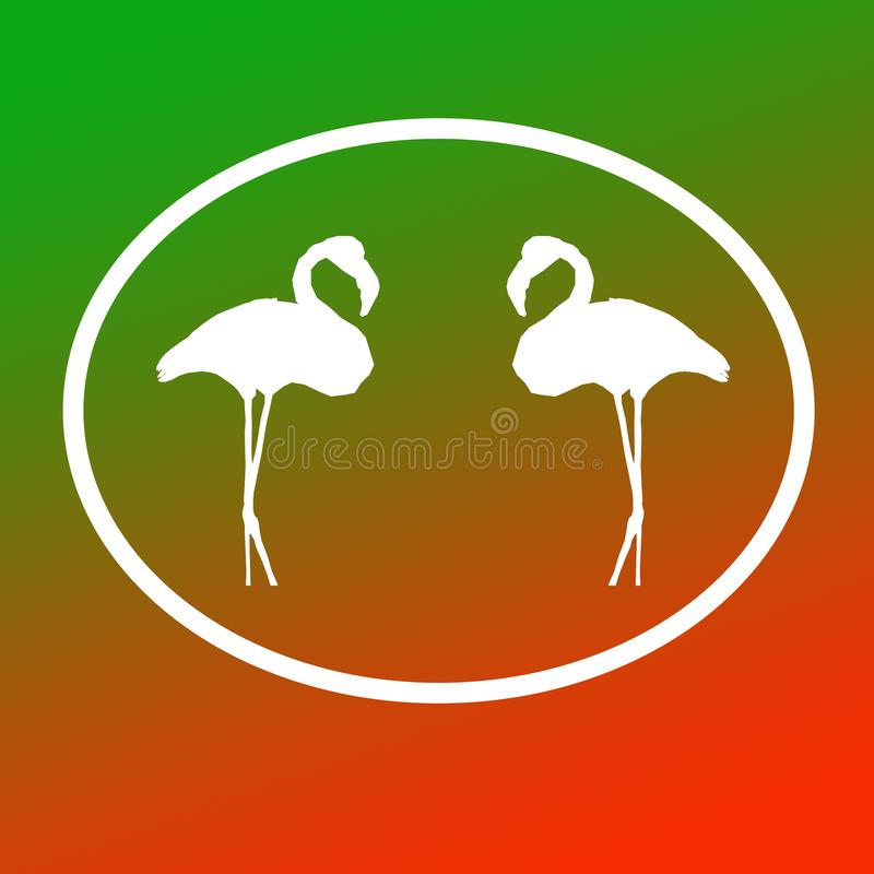 Logo Banner Image  Flamingo Birds Pair  in Oval Shape on Green Orange Background. Logo Banner Image Flamingo Birds Pair in Oval Shape on Green Orange Magenta vector illustration