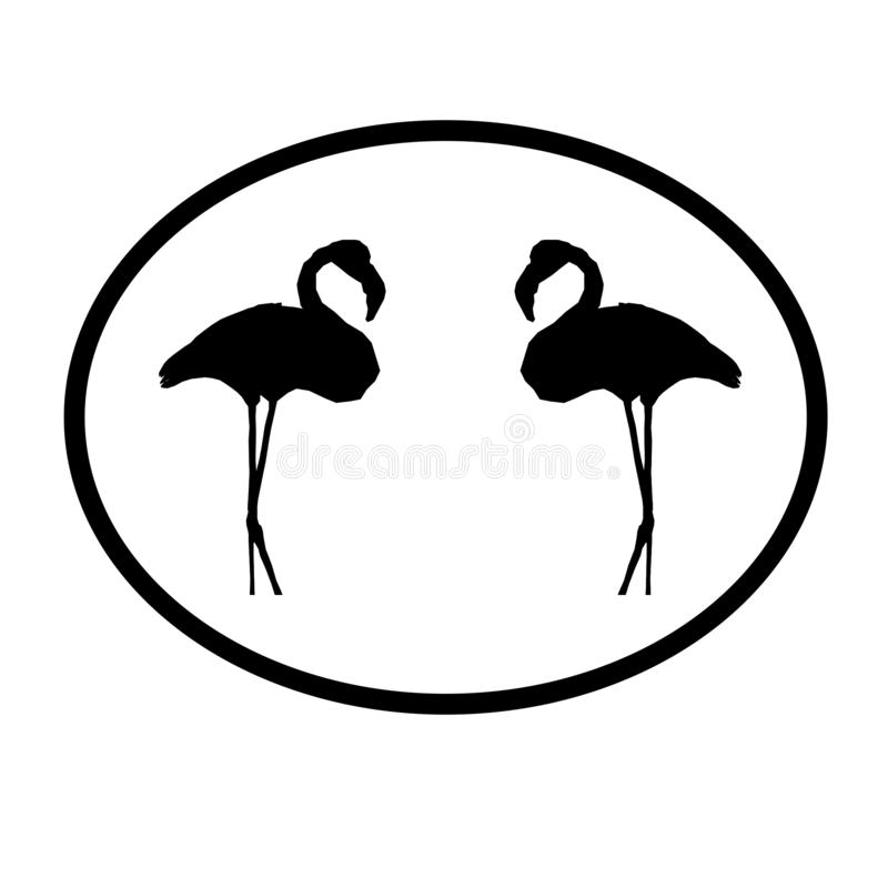 Logo Banner Image  Flamingo Birds Pair  in Oval Shape on White  Background. Logo Banner Image Flamingo Birds Pair in Oval Shape on White Background for websites vector illustration