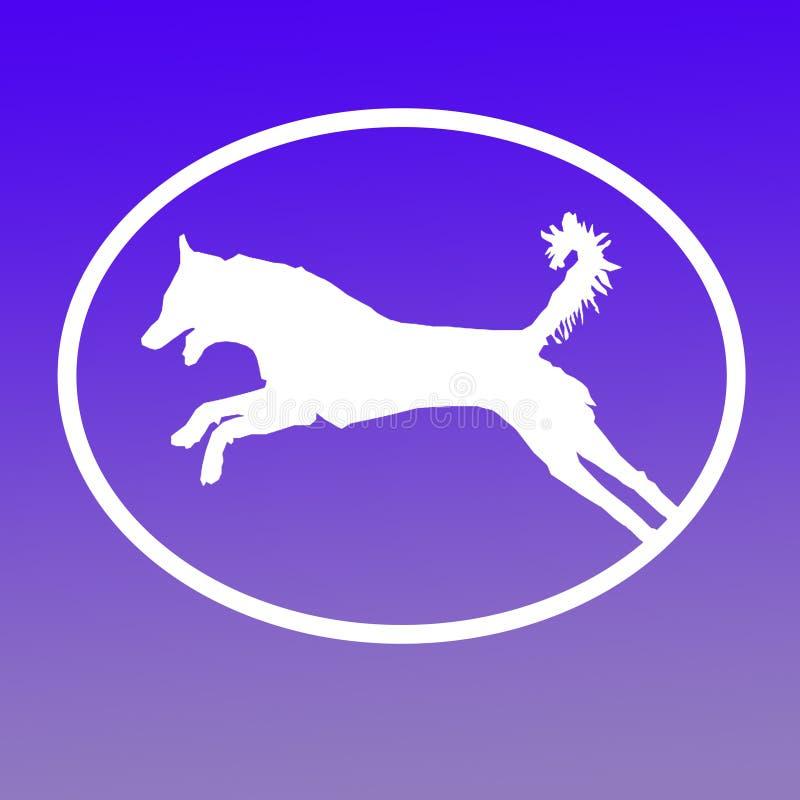Logo Banner Image Jumping Dog dans la forme ovale sur le fond bleu illustration libre de droits