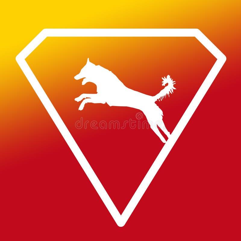 Logo Banner Image Jumping Dog en Diamond Shape en fondo amarillo-naranja stock de ilustración