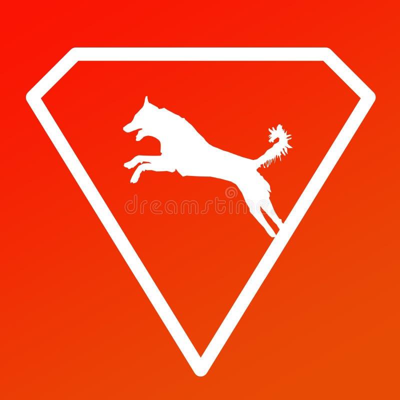 Logo Banner Image Jumping Dog en Diamond Shape en fondo anaranjado stock de ilustración