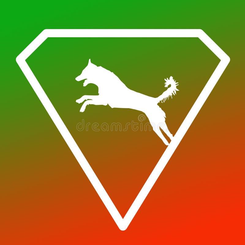 Logo Banner Image Jumping Dog en Diamond Shape en fondo anaranjado verde de la pendiente ilustración del vector