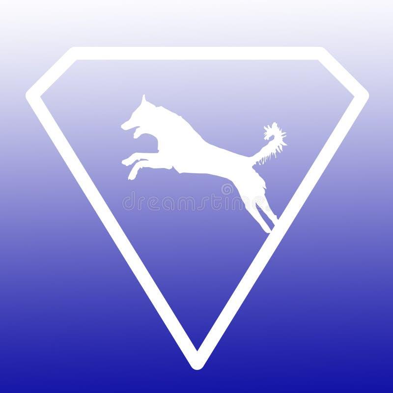 Logo Banner Image Jumping Dog en Diamond Shape en fondo azul de la pendiente ilustración del vector