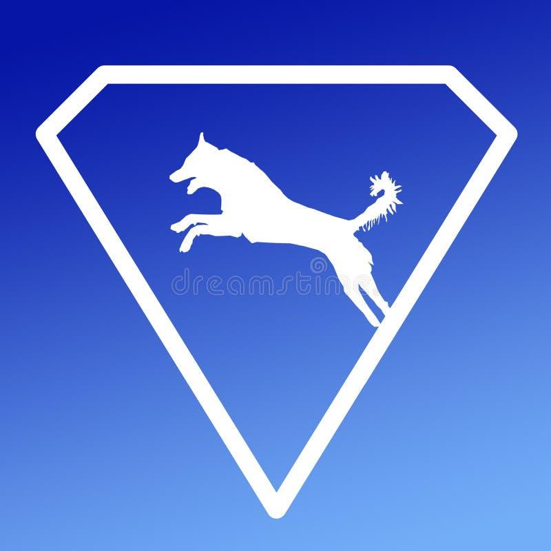 Logo Banner Image Jumping Dog en Diamond Shape en fondo azul de la pendiente libre illustration