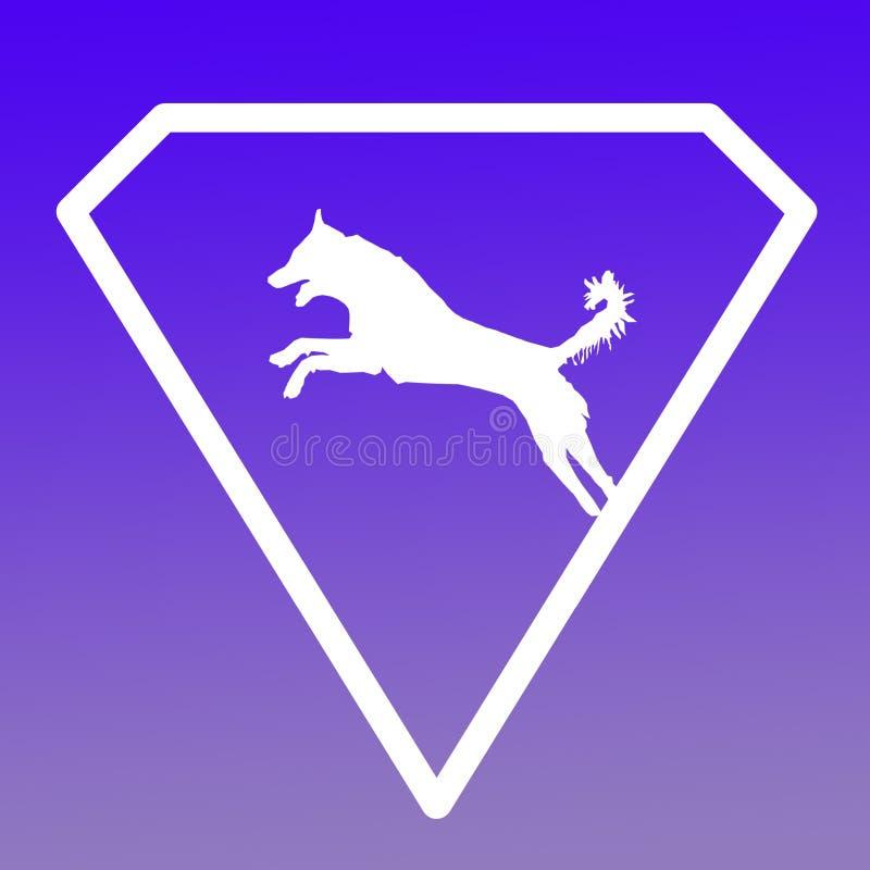 Logo Banner Image Jumping Dog en Diamond Shape en fondo azul libre illustration