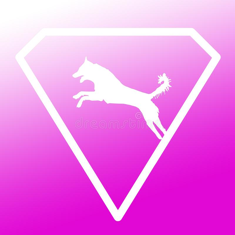 Logo Banner Image Jumping Dog en Diamond Shape en fondo blanco púrpura de la pendiente libre illustration