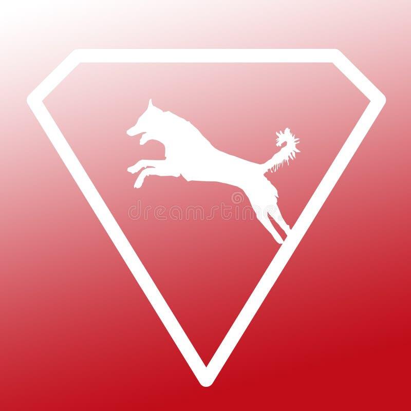 Logo Banner Image Jumping Dog en Diamond Shape en fondo blanco rojo de la pendiente ilustración del vector