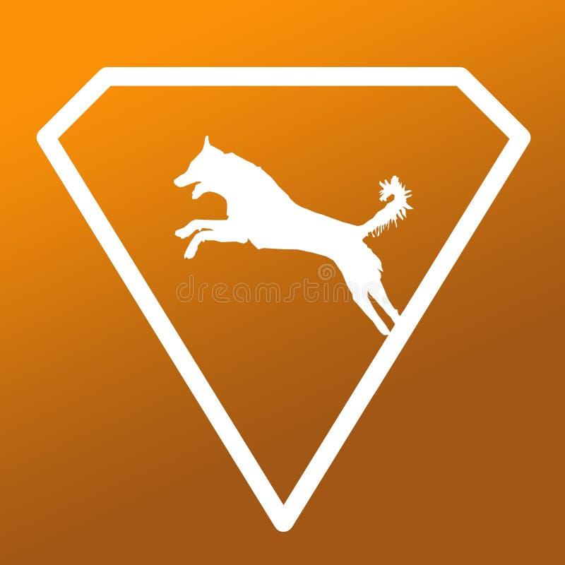Logo Banner Image Jumping Dog en Diamond Shape en fondo de color caqui de la pendiente de Brown libre illustration