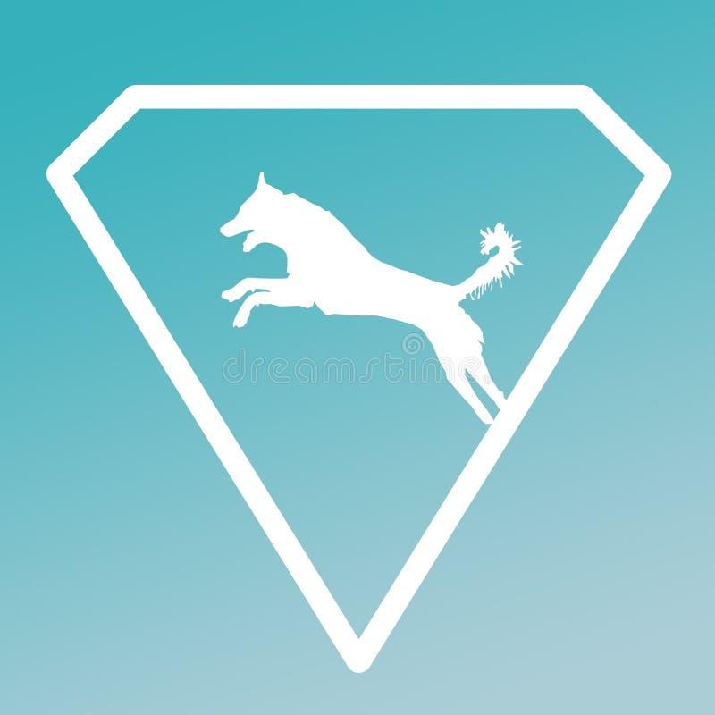 Logo Banner Image Jumping Dog en Diamond Shape en fondo de la pendiente de la turquesa ilustración del vector
