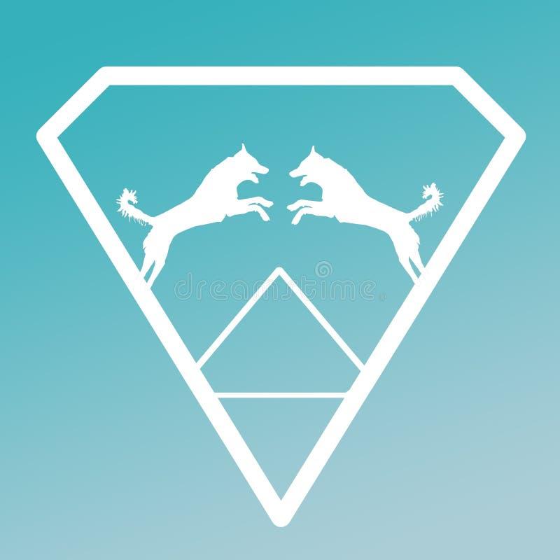 Logo Banner Image Jumping Dog en Diamond Shape en fondo de la turquesa ilustración del vector