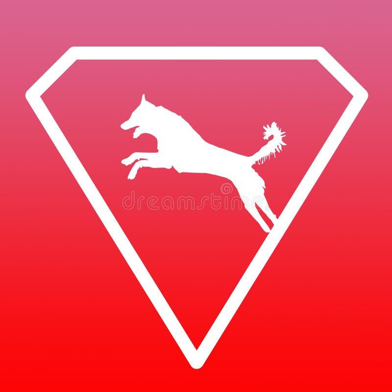 Logo Banner Image Jumping Dog en Diamond Shape en fondo rosado rojo libre illustration