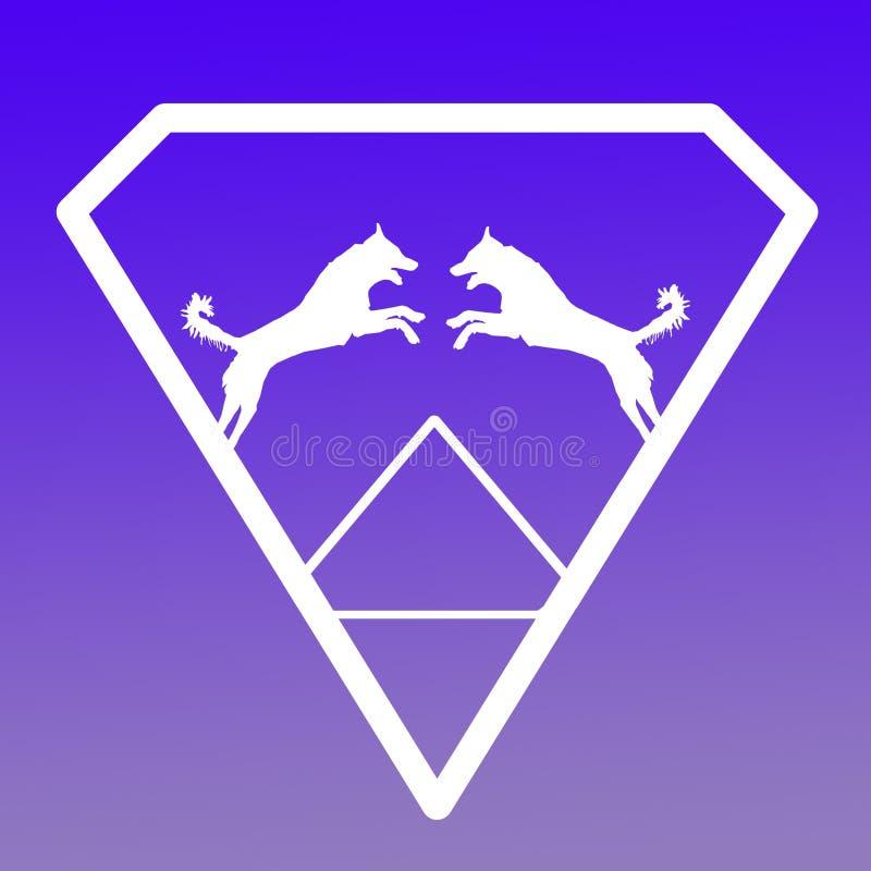 Logo Banner Image Jumping Dog en Diamond Shape en Violet Background azul libre illustration
