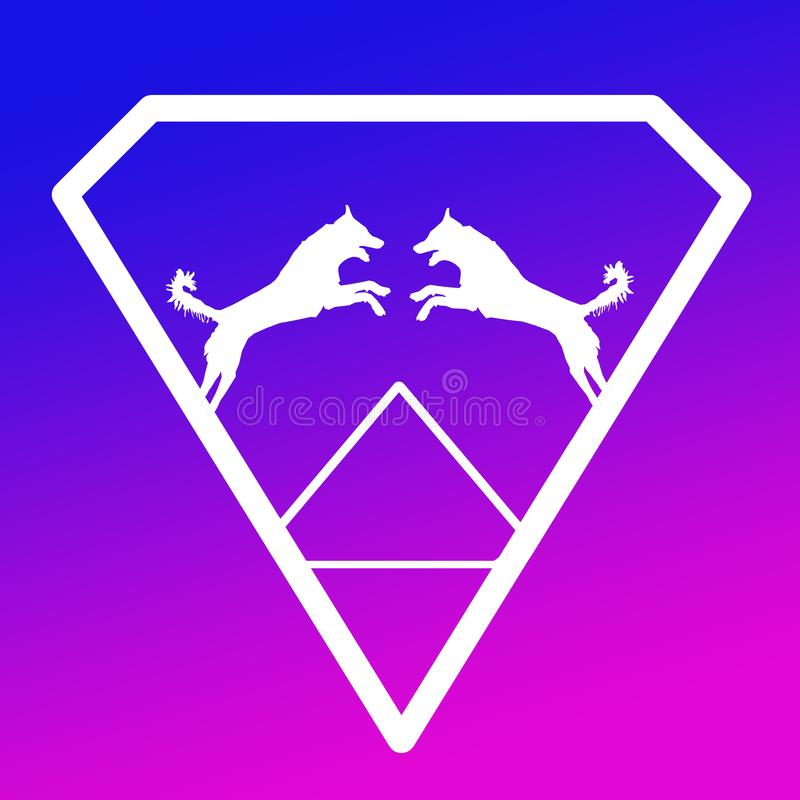 Logo Banner Image Jumping Dog par i en Diamond Shape på blå lilabakgrund vektor illustrationer