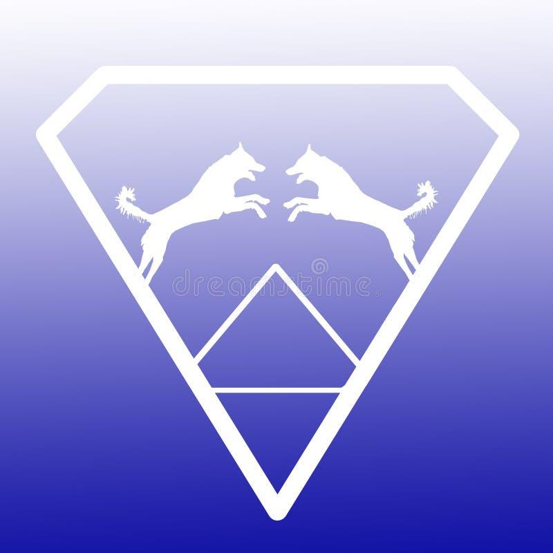 Logo Banner Image Jumping Dog par i en Diamond Shape på blå vit bakgrund stock illustrationer