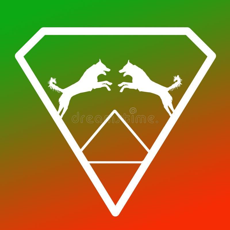 Logo Banner Image Jumping Dog par i en Diamond Shape på grön orange bakgrund stock illustrationer