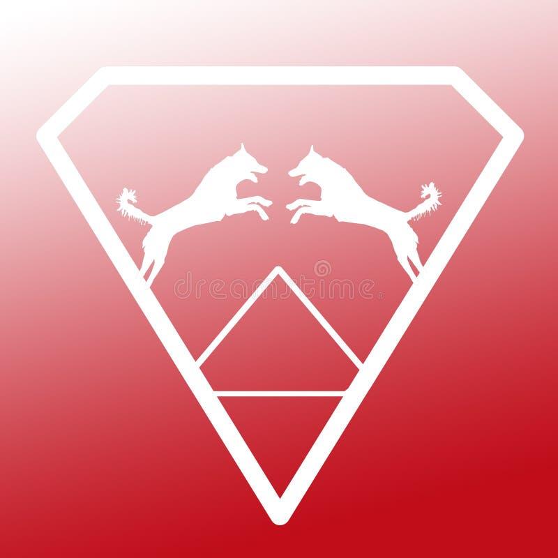 Logo Banner Image Jumping Dog par i en Diamond Shape på röd vit bakgrund stock illustrationer