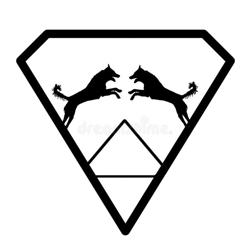 Logo Banner Image Jumping Dog par i en Diamond Shape på vit bakgrund royaltyfri illustrationer