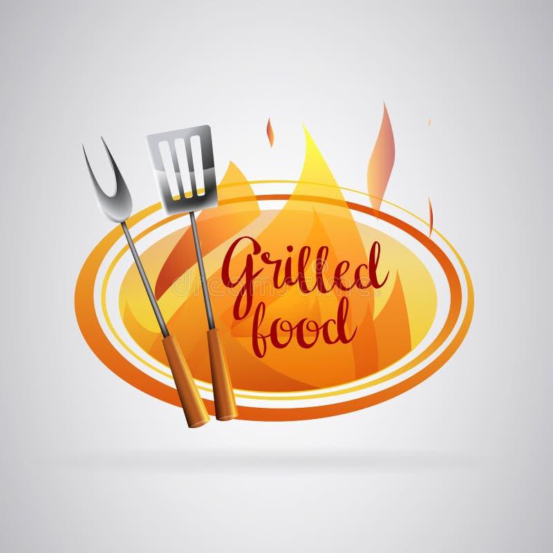 Logo Barbecue a grillé la nourriture avec des flammes illustration libre de droits