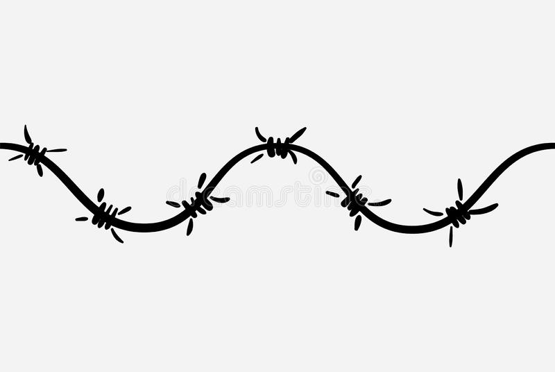 The logo of the barbed wire. Black and white drawing. Vector illustration of a barbed wire. The Holocaust. Console camp. The logo of the barbed wire. Black and vector illustration