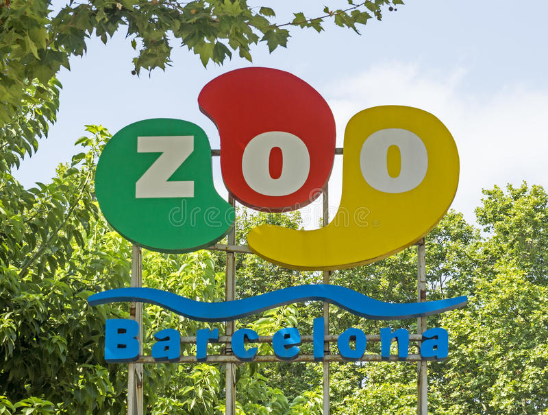Logo of Barcelona zoo. BARCELONA, SPAIN - JULY 12, 2015: The logo of Barcelona zoo above the main entrance. Founded in 1892 royalty free stock image