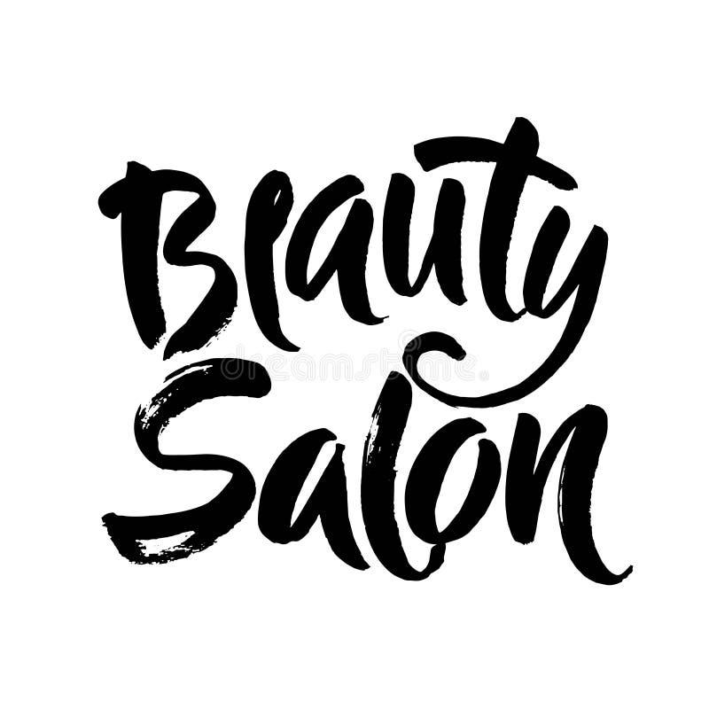 Logo Beauty Salon Lettering. Custom handmade calligraphy, vector stock illustration