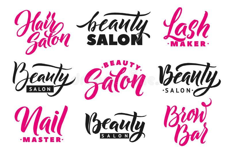 Logo Beauty Salon Lettering Set. Custom handmade calligraphy, vector stock illustration