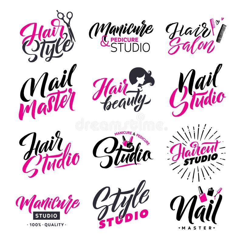 Logo Beauty Salon Lettering Set Estudio del pelo y amo del clavo Caligrafía hecha a mano de encargo, vector stock de ilustración