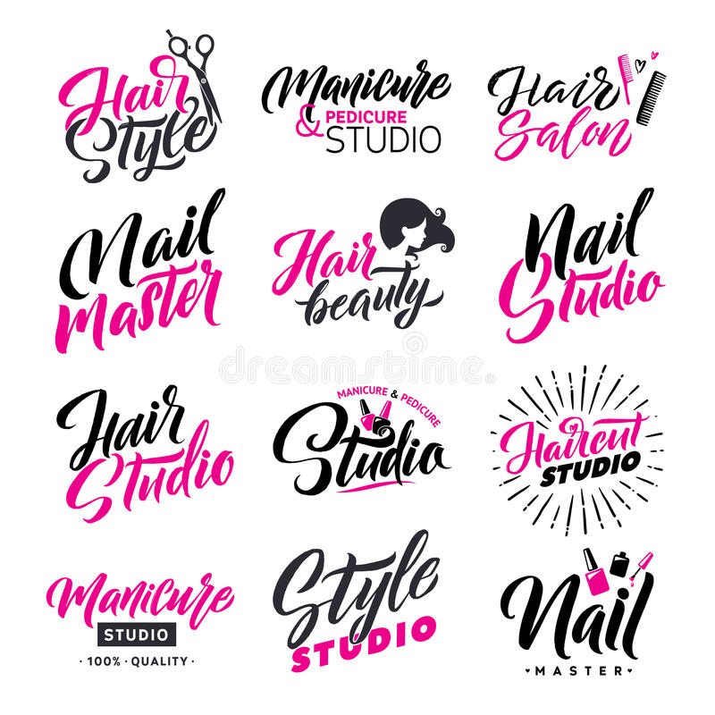 Logo Beauty Salon Lettering Set. Hair Studio and Nail Master. Custom handmade calligraphy, vector. stock illustration