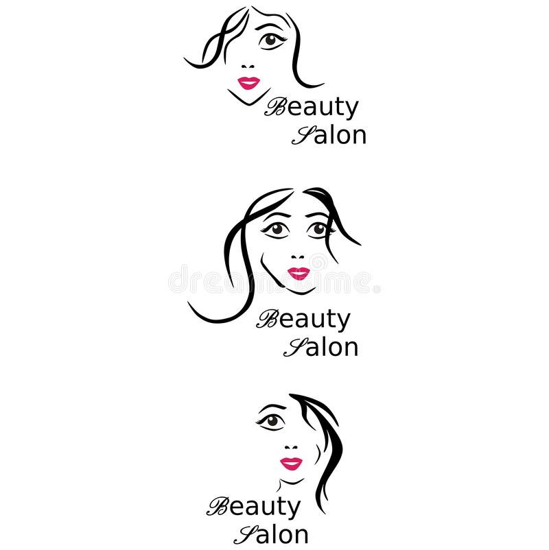 Logo Beauty salong, hårsalong, skönhetsmedel Kvinnligt vända mot svart white Konturöversikt stock illustrationer