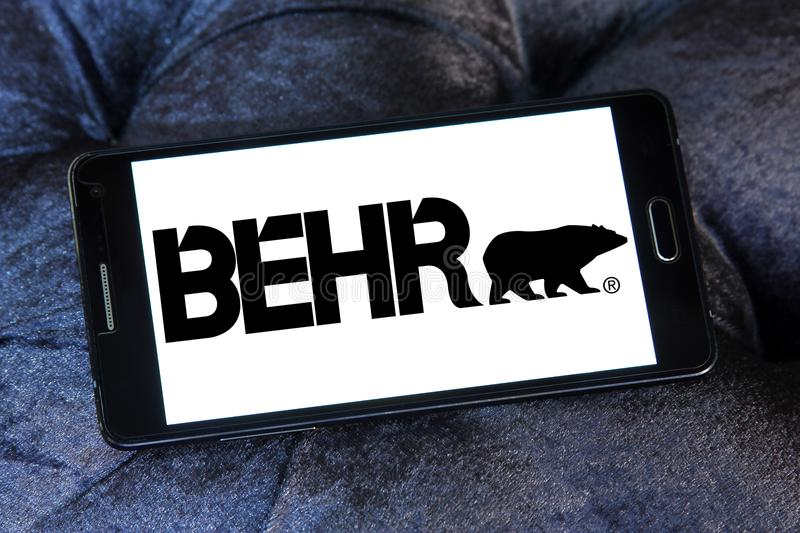 Behr paint company logo. Logo of Behr paint company on samsung mobile. Behr Process Corporation is a supplier of architectural paint and exterior wood care royalty free stock photo