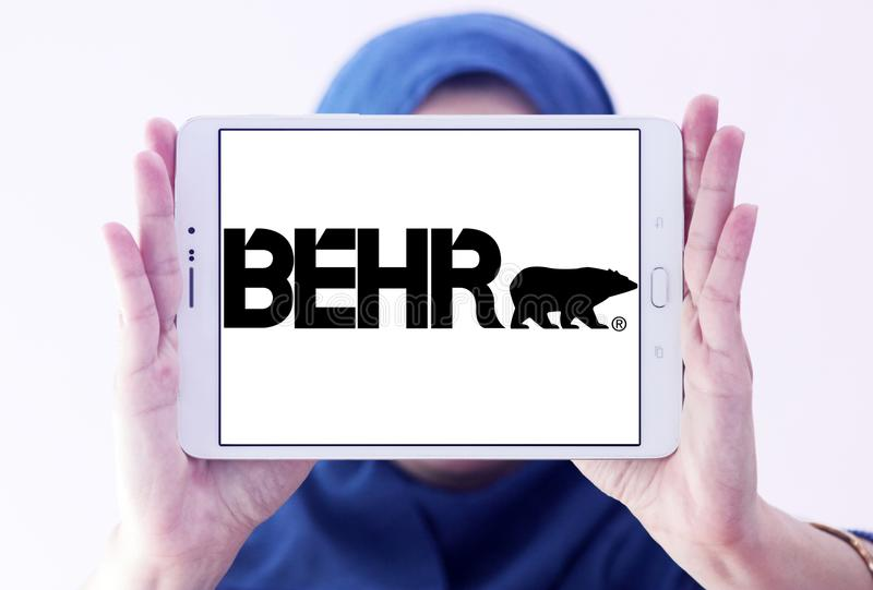 Behr paint company logo. Logo of Behr paint company on samsung tablet holded by arab muslim woman. Behr Process Corporation is a supplier of architectural paint stock images