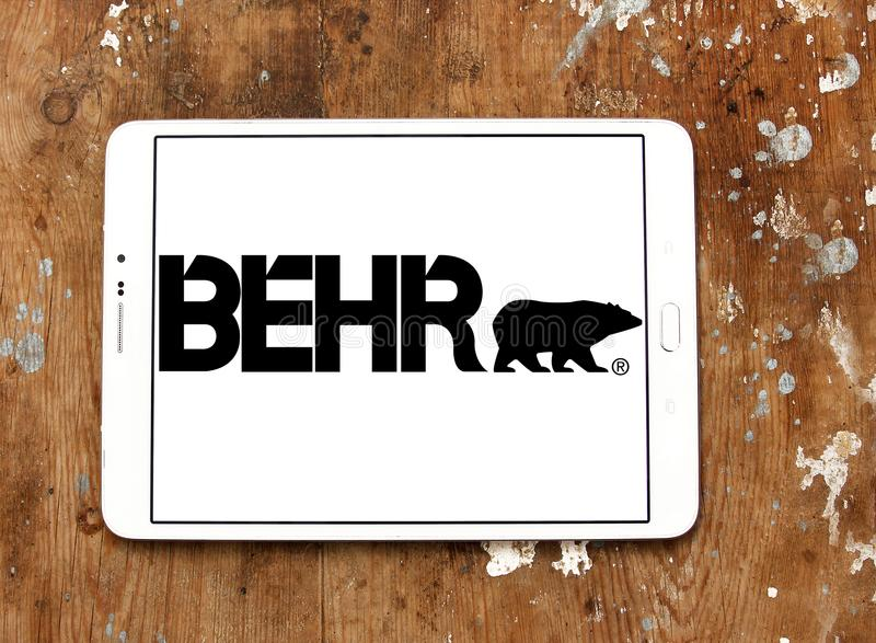 Behr paint company logo. Logo of Behr paint company on samsung tablet on wooden background. Behr Process Corporation is a supplier of architectural paint and royalty free stock image