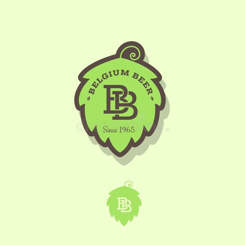 Logo belge de bière Emblème de bière en tant qu'houblon vert avec les lettres B illustration libre de droits