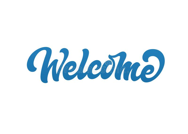 Logo benvenuto del testo di vettore illustrazione di stock