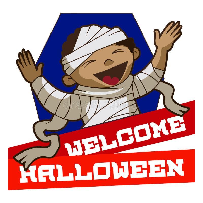 Logo benvenuto di Halloween, stile del fumetto illustrazione di stock