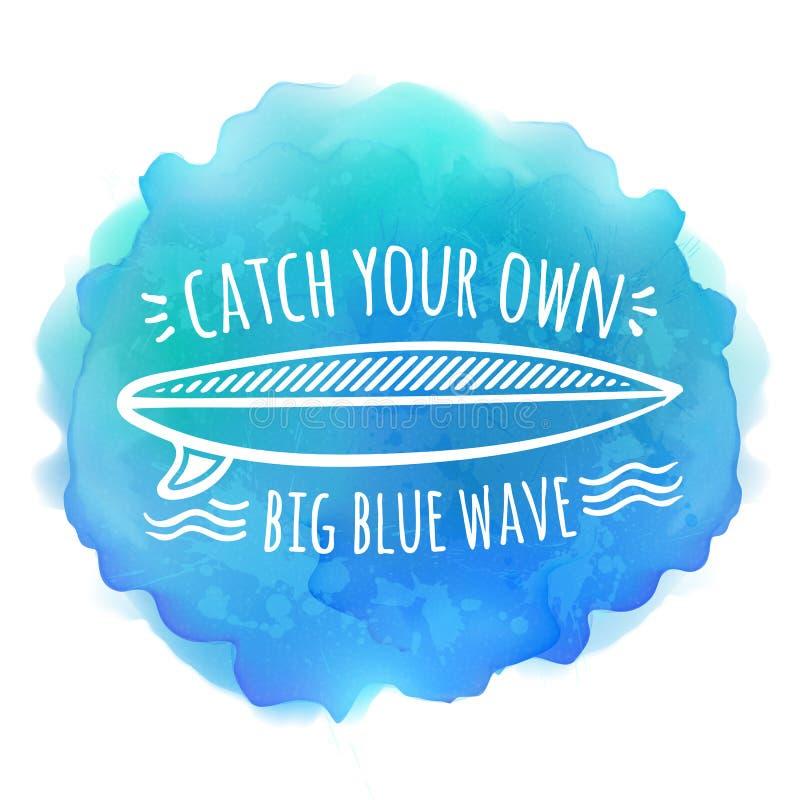 Logo bianco del bordo praticante il surfing sull'acquerello blu illustrazione di stock