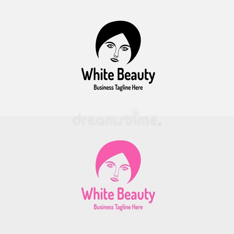 Logo bianco della ragazza di bellezza illustrazione di stock