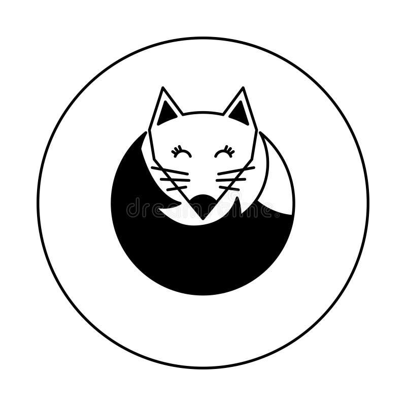 Logo in bianco e nero della volpe per l'illustrazione Icona su un fondo bianco Illustrazione di vettore illustrazione vettoriale